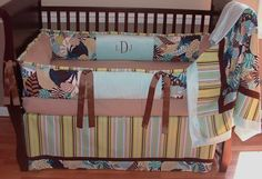 Mod Hawaiian Crib Bedding  This custom made baby crib bedding set includes the bumper, blanket, and crib skirt.