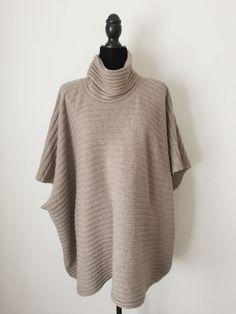 $2595 NWT ESKANDAR 100% Cashmere Cowl Neck Poncho Sweater O/S LONG TAUPE #Eskandar #CowlNeckPonchoSweater