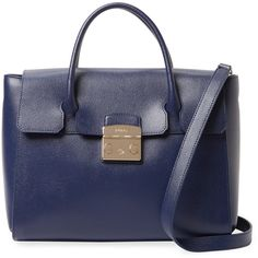 Furla Women's Metropolis Medium Leather Satchel - Dark Blue/Navy ($279) ❤ liked on Polyvore featuring bags, handbags, furla handbags, leather satchel purse, navy blue leather purse, blue purse and leather purses