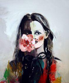 "Saatchi Art Artist Hanna Ilczyszyn; Painting, ""Girl with a flower (exhibition)"" #art"