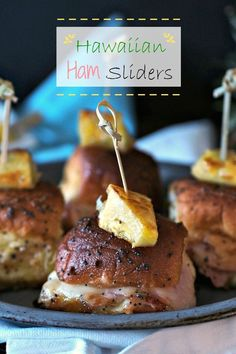 Hawaiian Ham Sliders - the perfect finger food; savory, sweet mini sandwiches perfect for a large gathering or small luncheon. Tried & true crowd-pleaser. Simply Sated