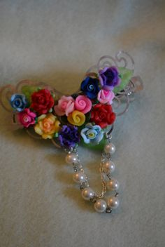 hair clip poly clay flowers bright colors chain dangle adults or children by hudathotjewelry on Etsy