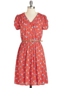 Take to the Wind Dress in Red Floral. Remember walking through the prairie and picking wildflowers? #red #modcloth