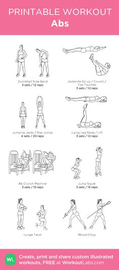 Abs : my visual workout created at WorkoutLabs.com • Click through to customize and download as a FREE PDF! #customworkout