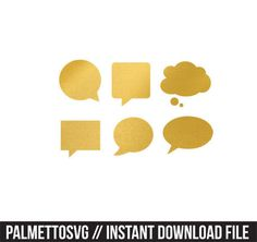 Speech bubbles gold foil clip art, Svg, Cricut Cut Files, Silhouette Cut Files  This listing is for an INSTANT DOWNLOAD. You can easily create your own clip art projects. Can also be used with the silhouette cutting machines or other machines that accept SVG.  It includes 1 zip folders ** Includes png clip art file & svg/dxf cut files 1. png, jpeg, svg, dxf files  SVG & DXF Files for electronic cutting machines. You must have an Electronic Cutting Machine that reads SVG or DXF f...