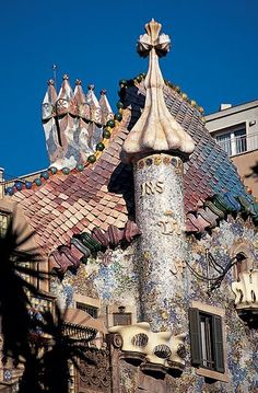 "Color in architecture must be intense, logical and fertile,"" Gaudí wrote in the late 1870s. He enlivened the facade of his Casa Batllà³ with scalelike roof tiles meant to evoke a dragon's back, multihued mosaics and stained-glass windows."