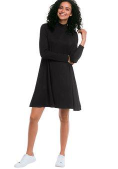 Mock Neck A-Line Dress by Ellos® - Women's Plus Size Clothing
