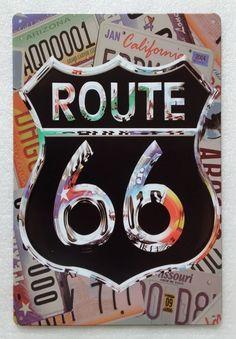 Plaque métal Route 66 de 20x30 cm