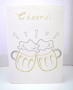 Handstitched Beer Glasses Greeting Card by StitchyStationery, £3.50