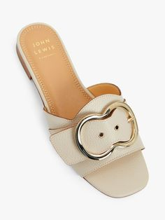 Buy John Lewis & Partners Letty Leather Buckle Detail Slider Sandals from our Womens Shoes, Boots & Trainers range at John Lewis & Partners. Leather Buckle, White Leather, Soft Leather, Slide Sandals, Women's Shoes Sandals, Leather Sandals, Oasis Dress, Leather Pattern, Summer Outfit