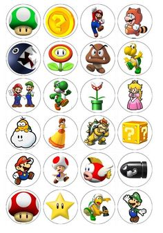24 x Super Mario Brothers Edible Cupcake Toppers Pre-Cut in Home & Garden, Parties, Occasions, Cake   eBay