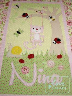 Love Colors by Julianna Rencés Kovács kitten quilt with lady bugs https://www.facebook.com/LoveColorsByJuliannaRencesKovacs