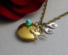 Personalized Locket Bird Swallow Sparrow by ManoCelebrates on Etsy, $23.00