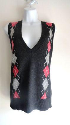 CABI Grey Sweater Top Shirt Blouse Vest 100% Lambs Wool Sleeveless Medium M #CABI #VestSleeveless