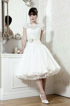 Tea Length Wedding Dress 50s Style 1950s