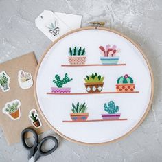 Freja the Cactus Cross Stitch Pattern PDF Prickly but Cute Cactus Cross Stitch, Mini Cross Stitch, Simple Cross Stitch, Modern Cross Stitch, Cross Stitch Designs, Cross Stitch Patterns, Easy Cross, Cactus Embroidery, Embroidery Patterns