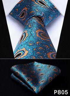 """Paisley Twist 3.4"""" Silk Woven Necktie and Handkerchief Suit Set"""