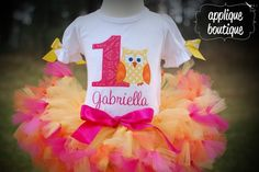 Owl First Birthday Outfit!  Machine Embroidery Applique Design.