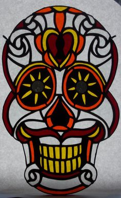 Red Stained Glass Sugar Skull Decorative Art by RiffRaffGlass
