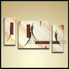 Beautiful Modern Abstract Painting High Quality Oil Painting For Living Room Abstract. This 3 panels canvas wall art is hand painted by Bo Yi Art Studio, instock - $153. To see more, visit OilPaintingShops.com