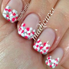 .French manicure - polka dots