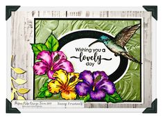 Created this card with Paper Rose Hummingbird garden stamp set, Oval stitched frame dies and the Sizzix 3d tropical leaves folder. Colored the flowers with Zig clean color real brush makers