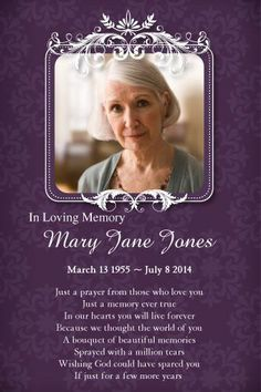 Local Purchase Order Template Personalised Memorial  Funeral Card Template With Free Editing .