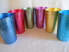 Set of 6 Mid Century Aluminum Glasses / Water Tumblers by CheekyBirdy on Etsy