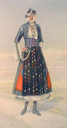 SPERLING Unmarried Girl's Dress (Macedonia, Roumlouki) 1930 lithograph on paper after original watercolour Greek Traditional Dress, Traditional Outfits, Greece Costume, Ancient Greek Costumes, Greek Dancing, Greek Dress, Greek Girl, Folk Dance, Costume Collection