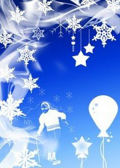 snowflakes and waves with a skier and next to balloons