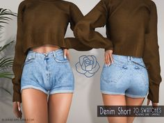 The Sims 4 Download, Sims 4 Clothing, Sims 4 Mods, Sims 4 Custom Content, 2 Instagram, Sims Cc, Short Outfits, Dresses Online, Denim Shorts