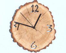 Oak clock, unique wall clocks, wall clock wood, big clock, wooden slices, rustic wall clock, wood slice clock, unusual wall clocks, часы