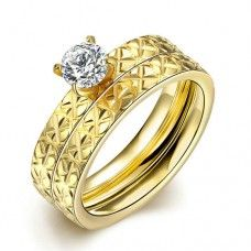 Double Layer Designer Characteristic Rings For Women TGR057-A