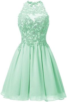 cf80ef87c65 Dresstells® Short Chiffon Halter Neck Prom Dress With Appliques Homecoming  Dress
