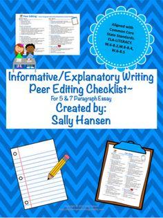 peer editing checklist for a 5-paragraph essay Readwritethink has a editing checklist for self- and peer editing.