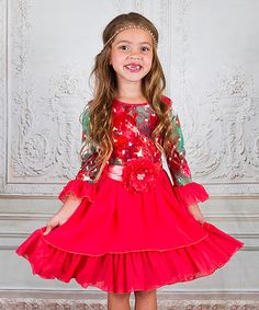 Look what I found on #zulily! Coral Floral Twirl Dress - Toddler & Girls #zulilyfinds