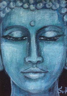 "Turquoise Boeddha schilderij originele kunst 7 x 5"""