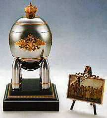The 'Steel Military' Faberge Egg ~ made in 1916 as a gift from Czar Nicholas II to his wife.  The 'Steel' egg is surmounted by a gold crown and rests on four artillery shells.  1916 was the year Faberge had to close his workshop because all his craftsmen were on the front lines of the war.  There were no materials to work with (gold & silver were forbidden to be used by jewelers) so he created the egg from steel and copper.  Faberge himself delivered the egg to the Tsarina on Easter Eve ~ it…