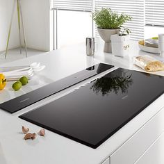 Buy Miele Downdraft Cooker Hood, Black from our Cooker Hoods range at John Lewis & Partners. Kitchen Hob, Kitchen Extractor, New Kitchen, Kitchen Appliances, Modern Kitchen Design, Home Renovation, Kitchen Gadgets, Kitchen Interior, House Design