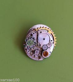 Real #watch #movement & cogs steampunk #brooch turtle charm & crystal jewel s9,  View more on the LINK: 	http://www.zeppy.io/product/gb/2/272332420293/