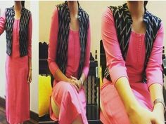 with jacket pink&black combination. Salwar Designs, Kurti Neck Designs, Blouse Designs, Churidar Pattern, Kurta Patterns, Indian Attire, Indian Wear, Chudidhar Designs, Trendy Kurti