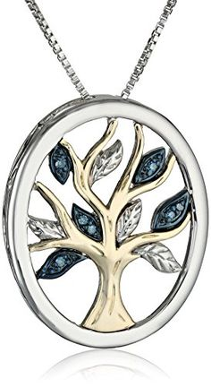 "Fashion Bug Sterling Silver and 14k Yellow Gold Diamond Tree of Life Pendant Necklace (.04 cttw), 18"" www.fashionbug.us #FashionBug"