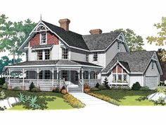 Eplans Queen Anne House Plan - Victorian Veranda Plan - 3722 Square Feet and 5 Bedrooms(s) from Eplans - House Plan Code HWEPL00650
