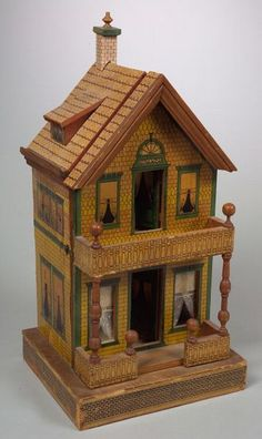 Dollhouse | Bliss? Victorian Lithographed Paper 2-Story Brick, cute little dollhouse.  .....Rick Maccione-Dollhouse Builder www.dollhousemansions.com