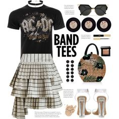 I'm With the Band: Band T-Shirts by hamaly on Polyvore featuring moda, AC/DC, Zimmermann, Bibi Marini, Diane Kordas, Bobbi Brown Cosmetics, Yves Saint Laurent, Aranáz, outfit and prints