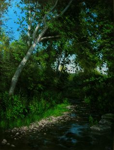Stream in the shadow of a plane-tree Oil on board 16x24in