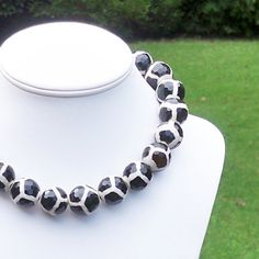 Pepper  GORGEOUS and Chunky 20mm Round Faceted Black by Tessyla, $245.00