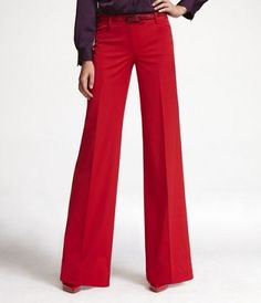 SIGNATURE STRETCH WIDE LEG EDITOR PANT FROM EXPRESS IN MARS RED