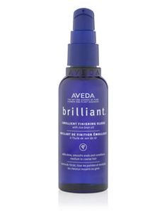 I mix one pump of Aveda Brilliant with my styling creme to get shine in my hair and reduce frizz.