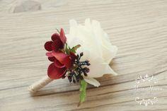 Rustic Boutonniere Burgundy Hydrangea by MissHanaFloralDesign